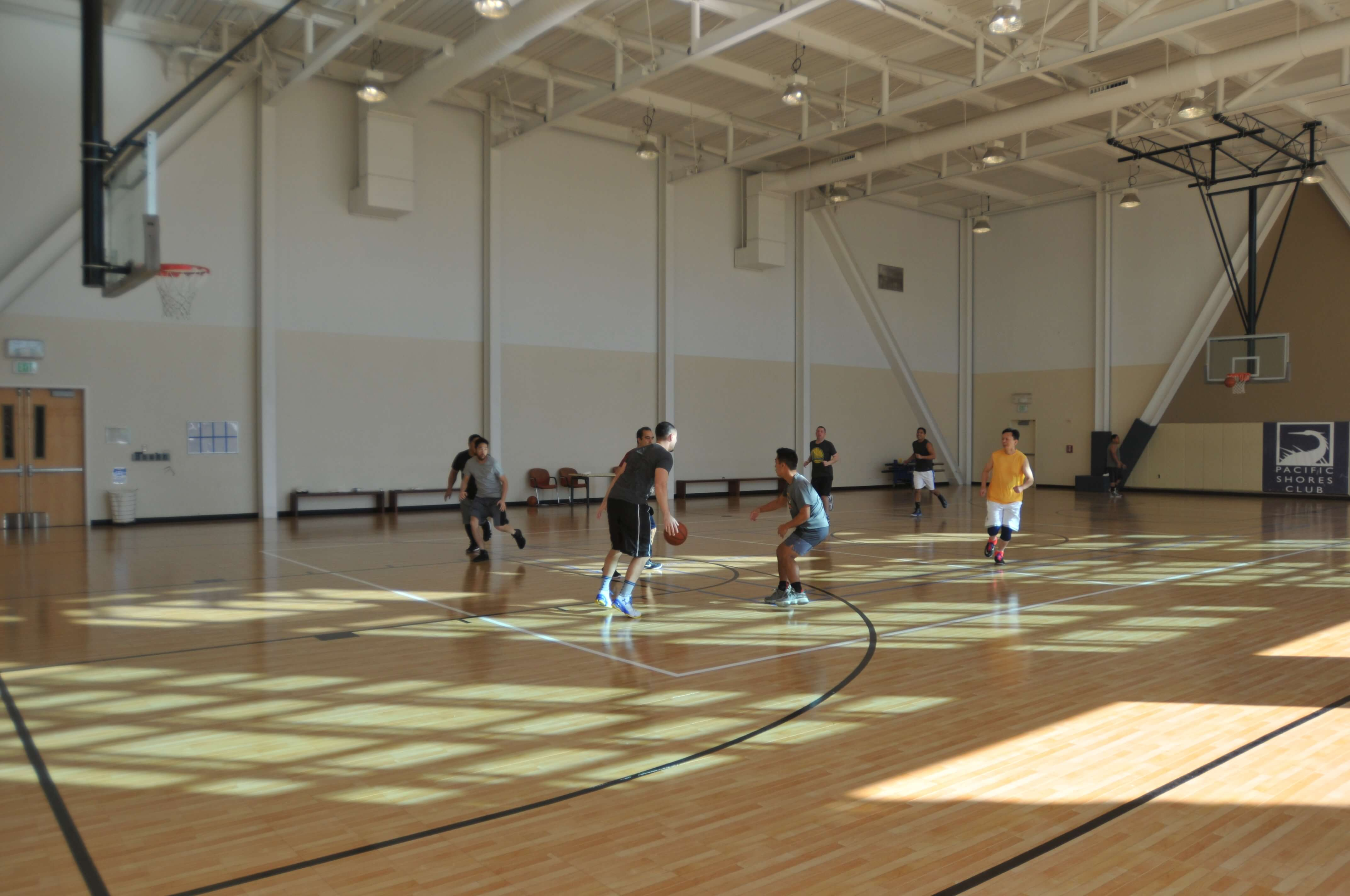 Indoor Sport Court Basketball Court at Google in Redwood City, CA | Response HG Maple Select Surface for Recreation Center Gym Floor