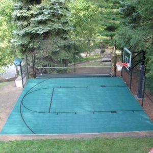Backyard Basketball Court with Rebounder