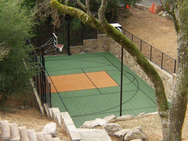 Backyard Custom Sport Court Multi Court Basketball Tennis Pickleball Court Builder Retaining Wall Landscape Backyard Design