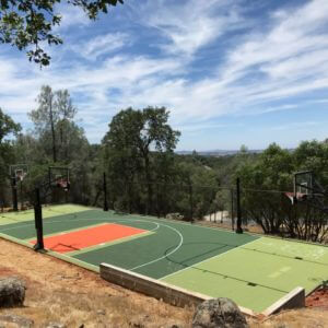 Backyard Basketball Court Residential Sport Court Game Court Shuffleboard Tennis Volleyball Sonora Stockton Sacramento Yuba City Reno Sparks Fresno Visalia