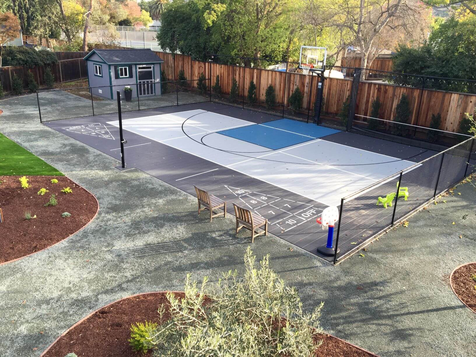 Backyard Residential Sport Court Game Court, Basketball, Pickleball, Shuffleboard Court Walnut Creek