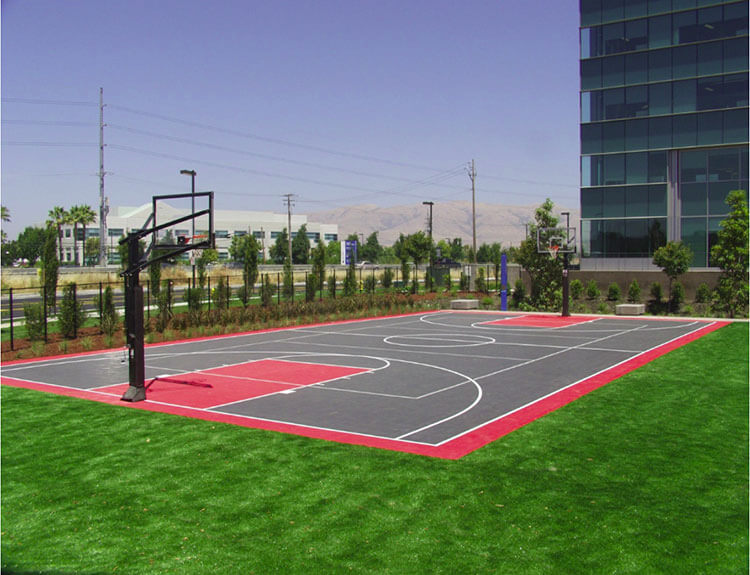 Corporate Campus Outdoor Sport Court Game Court, Basketball Court and Volleyball Court | Brocade Systems in San Jose, CA | AllSport America