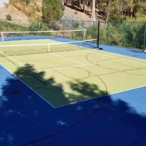 Backyard Sport Court Tennis Court with Basketball, Volleyball and Tennis