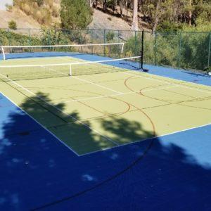 Backyard Sport Court Tennis Court with Basketball, Volleyball and Tennis