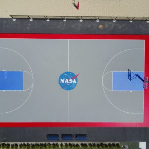 NASA Sport Court Basketball Court with custom Logo