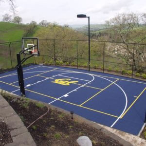 Backyard Sport Court Basketball Court and Pickleball, CAL Berkeley Logo | AllSport America
