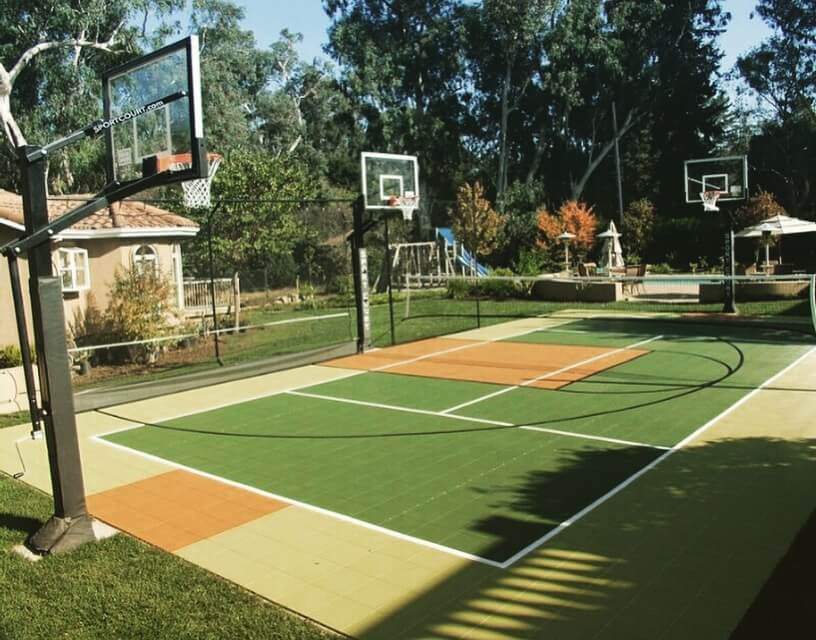 Outdoor Sport Court Athletic Surfacing and Performance Flooring Basketball Court Tennis Hockey Futsal Soccer Volleyball Backyard Residential Games San Jose Atherton Woodside Sacramento Reno