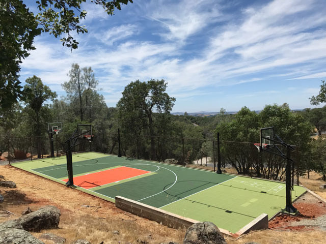 Backyard Basketball Court and Multi-Sport Game Court Basketball. Volleyball, Shuffleboard, Tennis, Roller Hockey Northern California San Francisco Bay Area