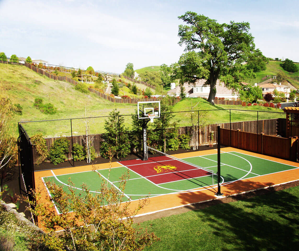 Backyard Sport Court Game Court Basketball Tennis