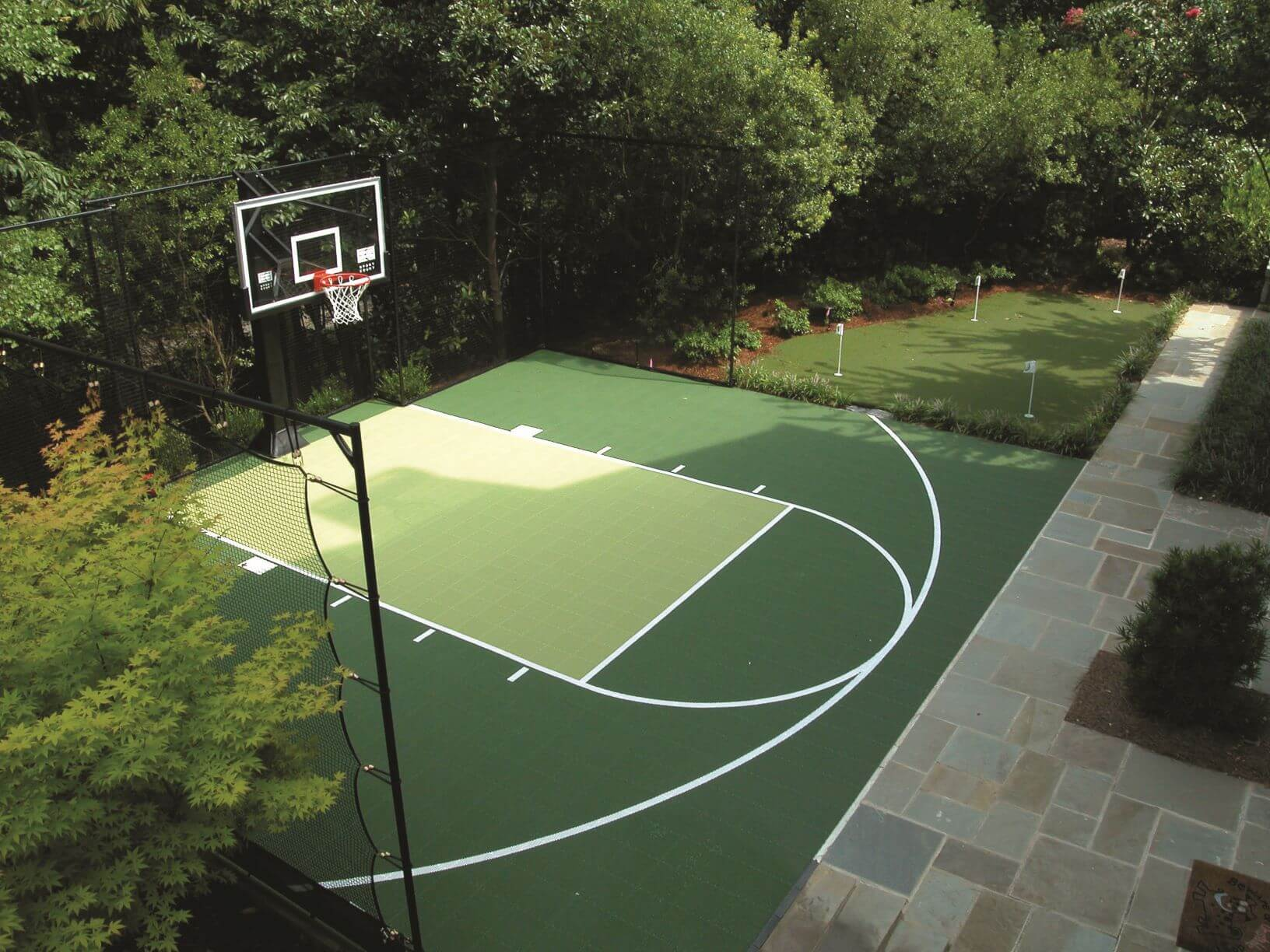 Backyard Sport Court Basketball Court Green and Kiwi