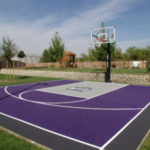 Backyard Basketball Court with Kings logo