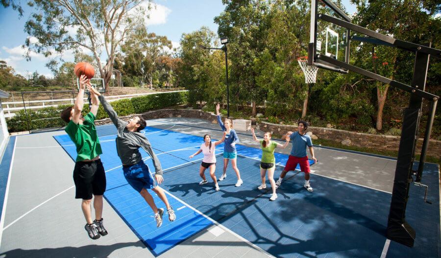 Residential Backyard Basketball Court, Sport Court. Basketball, Tennis, Volleyball, Futsal, Pickleball, and Badminton | AllSport America