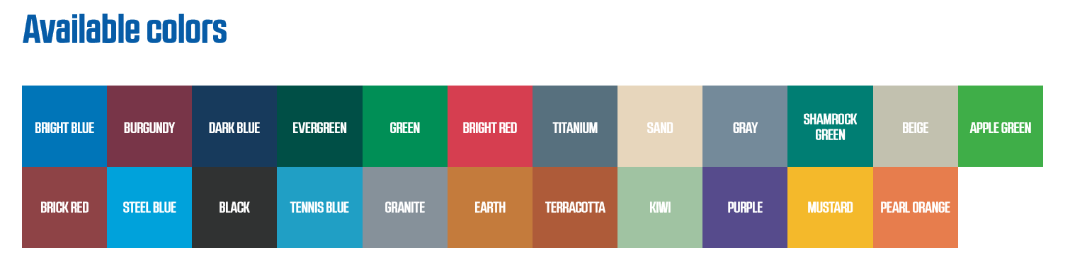 Sport Court Color Selection Chart
