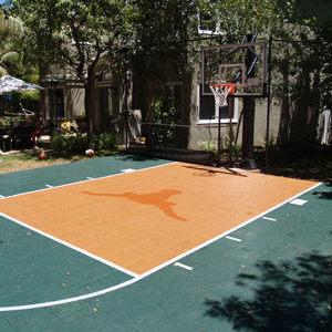 Backyard Basketball Court, Sport Court. Allsport America Inc Longhorn Logo