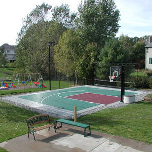 Backyard Basketball Court Sport Court Green and Red PowerGame