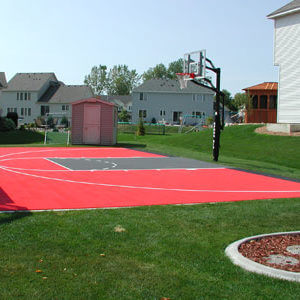 Backyard Basketball Court Sport Court Red and Grey