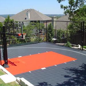 Backyard Basketball Court Orange and Grey with Rebounder and Basketball Hoop
