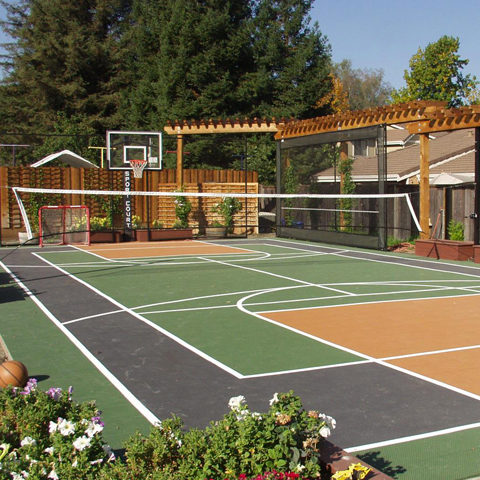 backyard basketball court sport court
