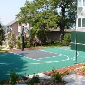 Backyard Basketball Court Sport Court with tetherball
