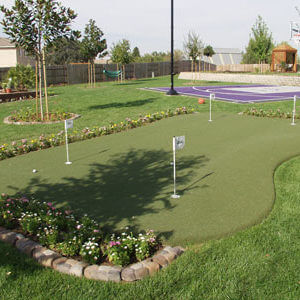 Custom Putting Green and Backyard basketball court, Sport Court. Sacramento Kings. AllSport America