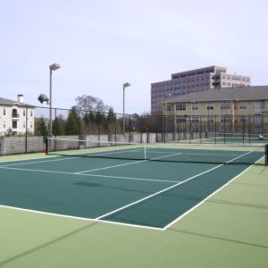 Sport Court Tennis Court Modular Tile Resurfacing Overlay. Crack Repair